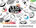 summer bbq doodles symbol and... | Shutterstock .eps vector #1109419943
