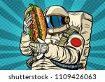 astronaut with a hot dog ... | Shutterstock .eps vector #1109426063
