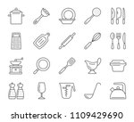 kitchenware thin line icons set.... | Shutterstock .eps vector #1109429690