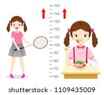 girl eating food and playing... | Shutterstock .eps vector #1109435009