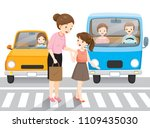 young girl leading old woman... | Shutterstock .eps vector #1109435030