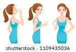 woman drinking milk for health. ... | Shutterstock .eps vector #1109435036