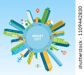 smart city concept with modern...   Shutterstock .eps vector #1109442830