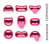 vector flat style mouths set... | Shutterstock .eps vector #1109445623