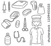 vector set of nurse and medical ... | Shutterstock .eps vector #1109453333