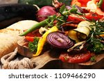 grilled vegetables. tomatoes ... | Shutterstock . vector #1109466290