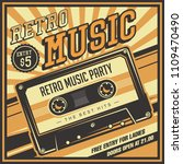 retro music compact cassette... | Shutterstock .eps vector #1109470490