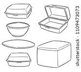 vector set of foam container | Shutterstock .eps vector #1109473073