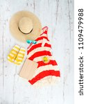 white background with summer... | Shutterstock . vector #1109479988