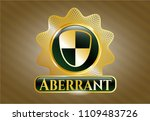 golden badge with shield ... | Shutterstock .eps vector #1109483726
