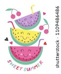 poster with cute watermelon   ... | Shutterstock .eps vector #1109486486
