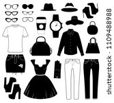 womens clothes and accessories... | Shutterstock .eps vector #1109488988