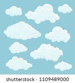 vector cartoon clouds | Shutterstock .eps vector #1109489000