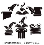 vector collection of old books  ... | Shutterstock .eps vector #110949113