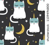 cats are unicorns  stars  moon  ... | Shutterstock .eps vector #1109496800