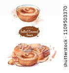 hand drawn watercolor salted... | Shutterstock . vector #1109503370