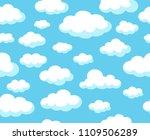 cartoon sky pattern. blue... | Shutterstock .eps vector #1109506289
