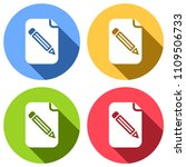 paper and pencil icon. set of...