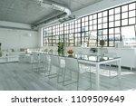 modern bright loft with big... | Shutterstock . vector #1109509649