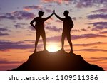 two happy climbers on top of a...   Shutterstock . vector #1109511386