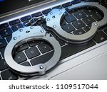 handcuffs on the laptop...   Shutterstock . vector #1109517044