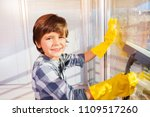 little boy having fun washing... | Shutterstock . vector #1109517260