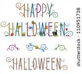 happy halloween greeting text...   Shutterstock .eps vector #110951738