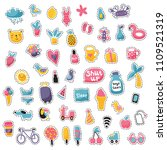 vector set of stitched icons ... | Shutterstock .eps vector #1109521319