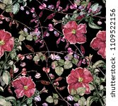 watercolor flowers petunia and... | Shutterstock . vector #1109522156