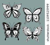 set decorative butterflies. set ... | Shutterstock .eps vector #1109525999