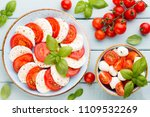 tomatoes  mozzarella cheese ...   Shutterstock . vector #1109532269