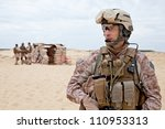 us marines in the desert near... | Shutterstock . vector #110953313