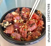 Small photo of Ahi Tuna Poke Bowl with Salmon Seaweed Salad and White Rice