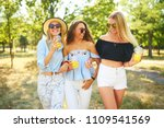 three nice girls having fun and ... | Shutterstock . vector #1109541569