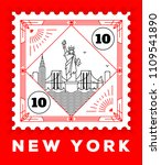 new york city line style... | Shutterstock .eps vector #1109541890