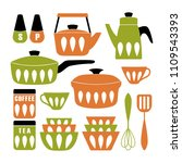 mid century modern kitchen... | Shutterstock .eps vector #1109543393