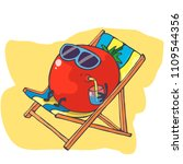 happy tomato relaxes on the...   Shutterstock .eps vector #1109544356