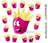 french fries cartoon... | Shutterstock .eps vector #110954438