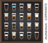 collection  cafe icons on board ... | Shutterstock . vector #1109545073