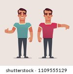 two man character  happy like... | Shutterstock .eps vector #1109555129