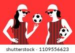 girls with soccer ball  wearing ... | Shutterstock .eps vector #1109556623