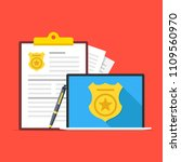 police database. laptop with... | Shutterstock .eps vector #1109560970