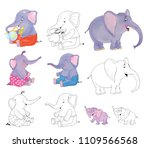 cute and funny cartoon... | Shutterstock . vector #1109566568