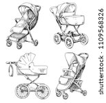 sketch of a baby stroller and...   Shutterstock .eps vector #1109568326