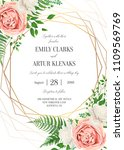 wedding floral invite ... | Shutterstock .eps vector #1109569769