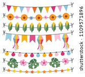 set of tropical summer garlands.... | Shutterstock .eps vector #1109571896