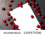 cherry berry red color flat lay ... | Shutterstock . vector #1109575280
