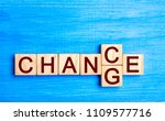 wooden blocks with letters and... | Shutterstock . vector #1109577716