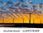 wind power plant on a dramatic... | Shutterstock . vector #1109578589