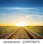 railroad among a green fields... | Shutterstock . vector #1109578673